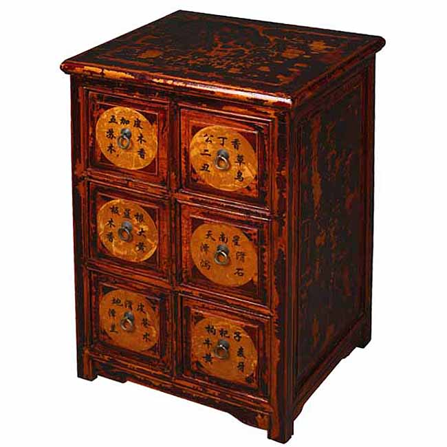Antique Style Crackle Finish Chinese Dresser