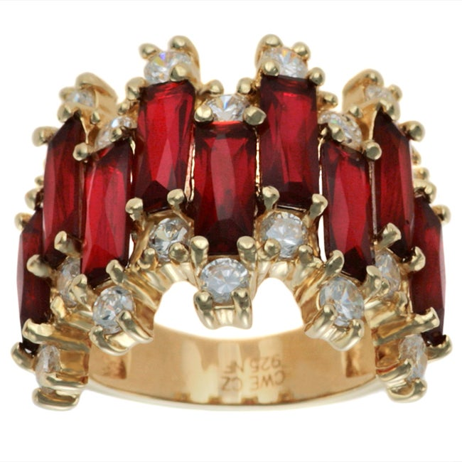 Charles Winston Simulated Ruby and CZ Ring