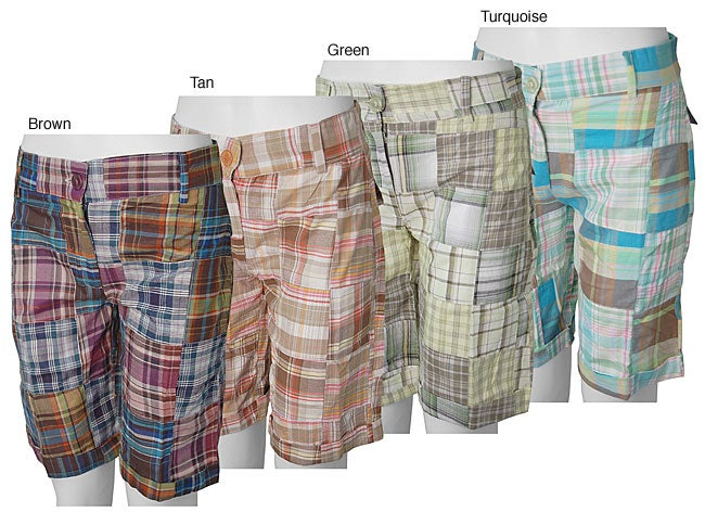 Cute Options Women S Plaid Patchwork Bermuda Shorts