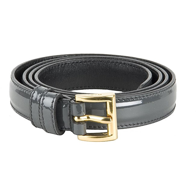 prada s grey patent leather belt