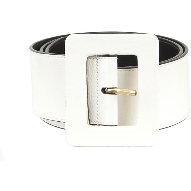 YSL Womens Ivory Patent Leather Wide Belt