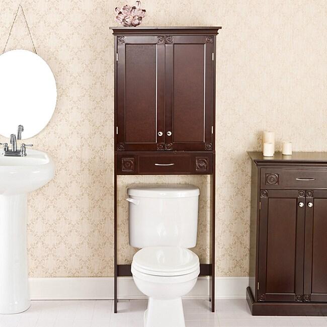 Austin Espresso Bathroom Spacesaver Cabinet  11334368  Overstock.com