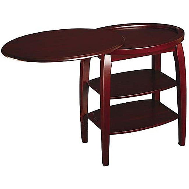 Cherry end table with swivel extension