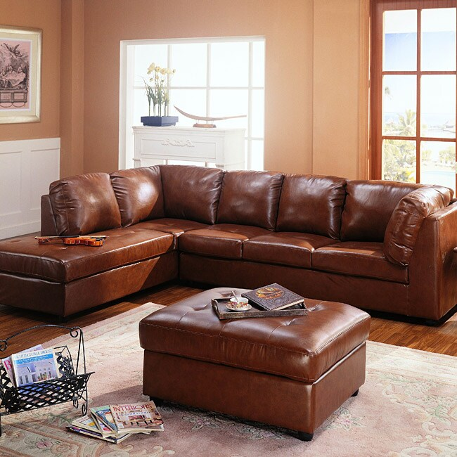 Cognac Sectional Sofa And Storage Ottoman 11349536