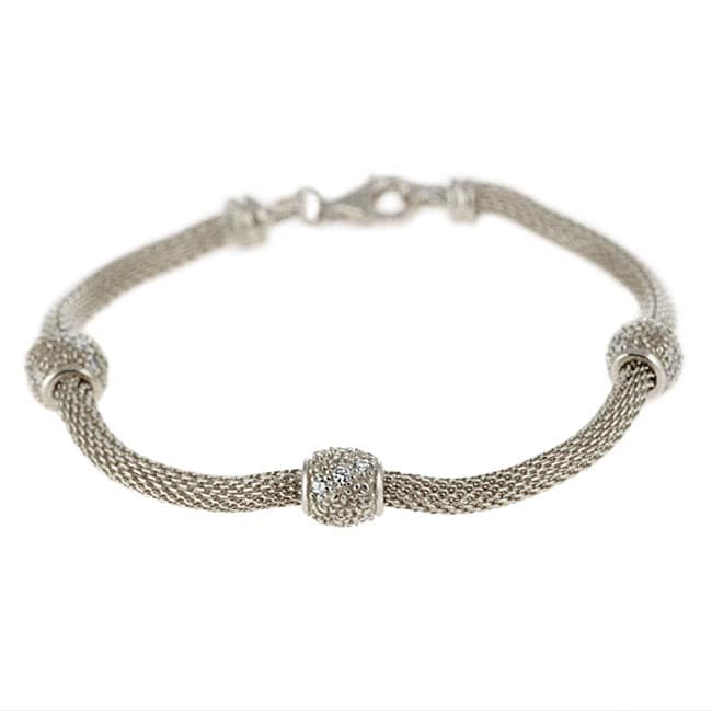 charles winston sterling silver cubic zirconia mesh