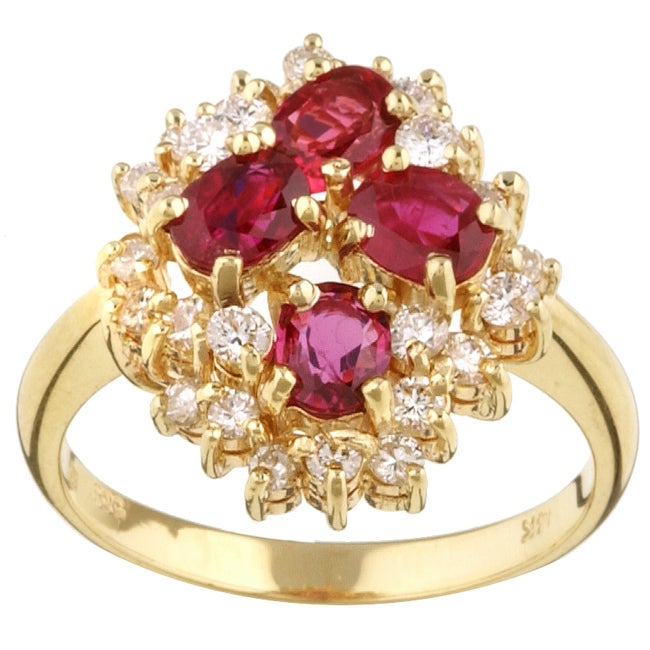Kabella 14k Yellow Gold Ruby and 5/8ct TDW Diamond Ring (GH, SI1)