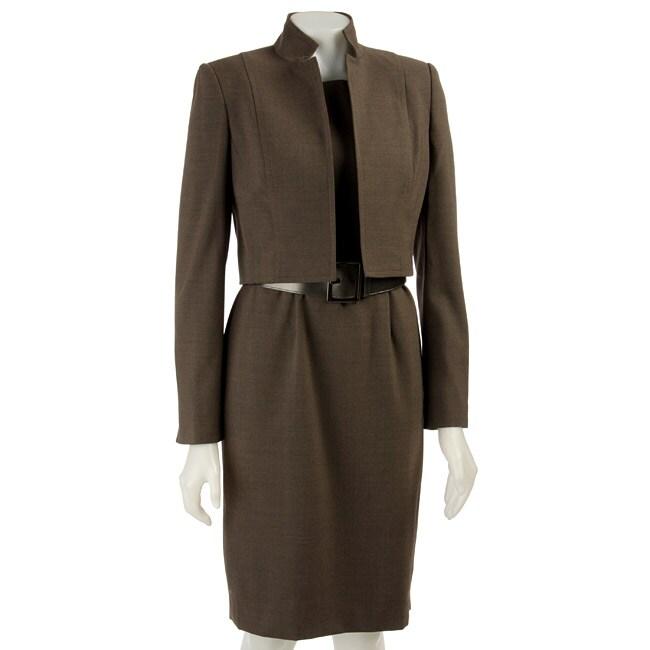 Anne Klein Womens Stretch Twill Belted Dress Suit