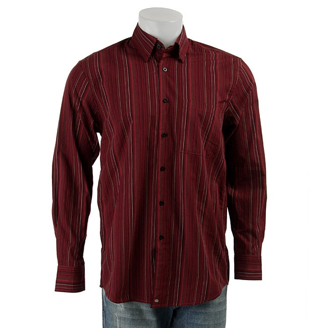 Andrew Fezza Men 39 S Burgundy Pinstripe Shirt Overstock