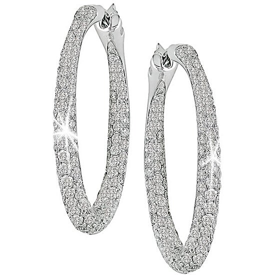 Miadora 18k White Gold 3 1/2ct TDW Diamond Hoop Earrings (G-H-I, SI)