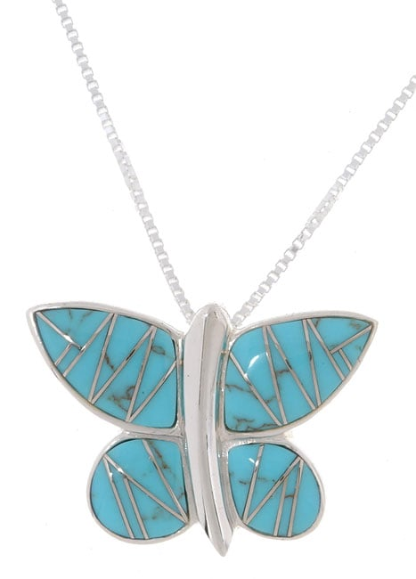 Sterling Silver and Turquoise Butterfly Pendant