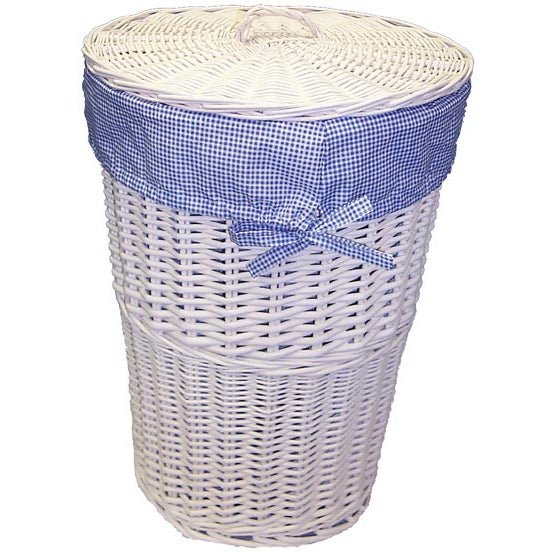 White round rattan hamper with navy gingham liner 11359989 shopping big - Wicker hampers with liners ...