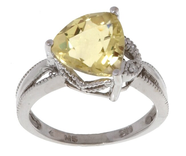 14kt White Gold Diamond accented Lime Green Topaz Ring