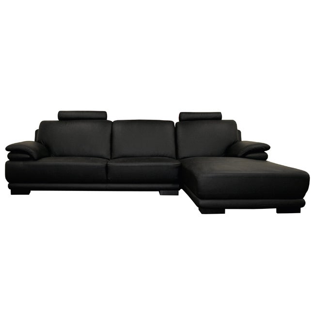jami 2-piece black leather sofa and chaise - 11361680 - overstock com shopping