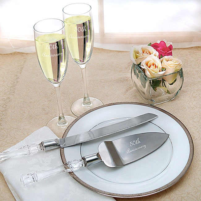 50th Wedding Anniversary Flutes And Cake Server Set Overstock