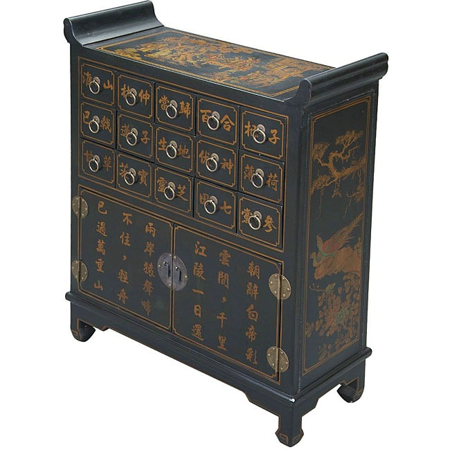 Hand-painted Black Bonded Leather Oriental Chest Buffet
