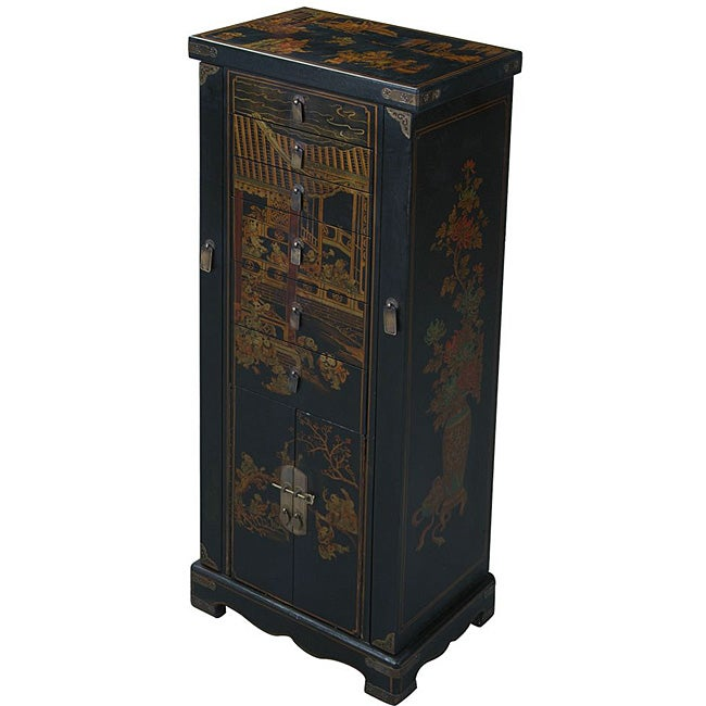 Hand-painted Black Leather Oriental Jewelry Armoire at Sears.com