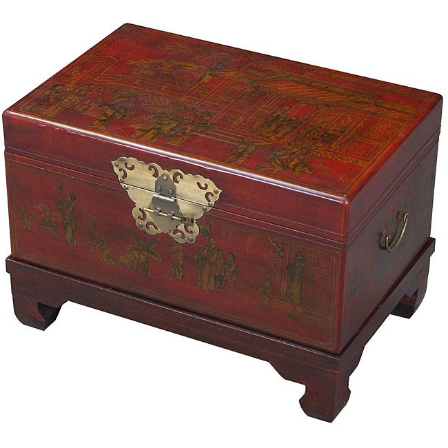 Red Bonded Leather Hand Painted End Table Storage Trunk 11366932 Shopping