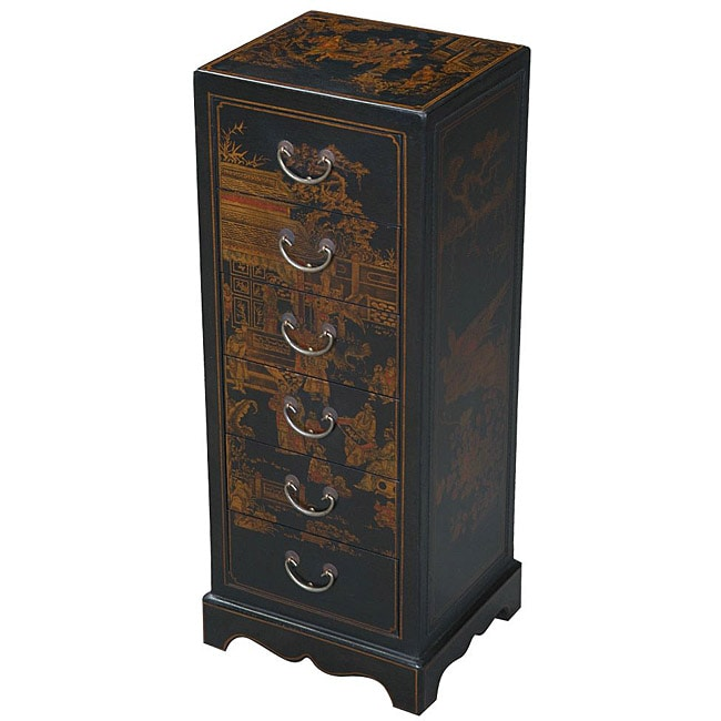 Hand-painted Black Bonded Leather Oriental Accent Table