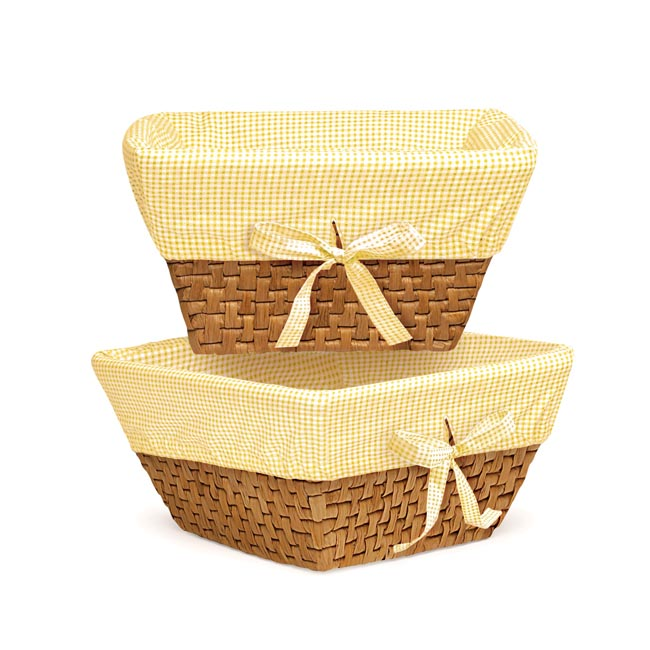 Honey Woven Basket Set with Yellow Gingham Liner