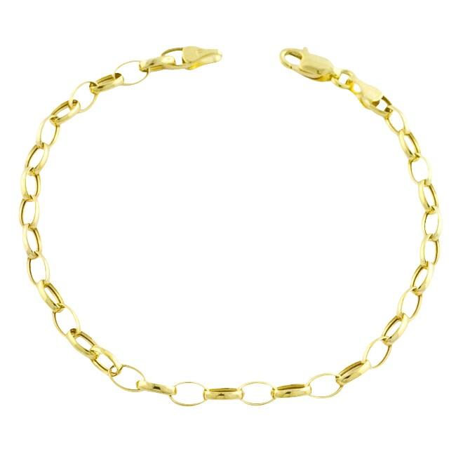 10k Yellow Gold Oval Rolo Charm Bracelet