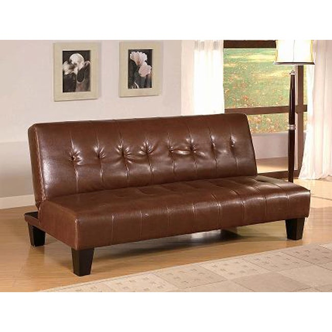 Brown vinyl leatherette futon sofa bed overstock for Sofa bed overstock