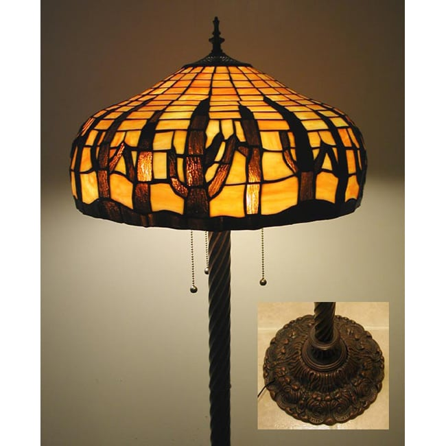 Tiffany style stained glass cactus floor lamp overstock for Overstock tiffany floor lamp