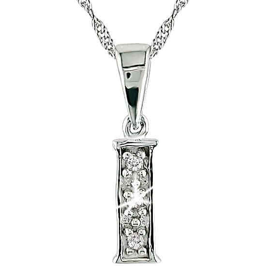 14k White Gold Initial 'I' Diamond Necklace
