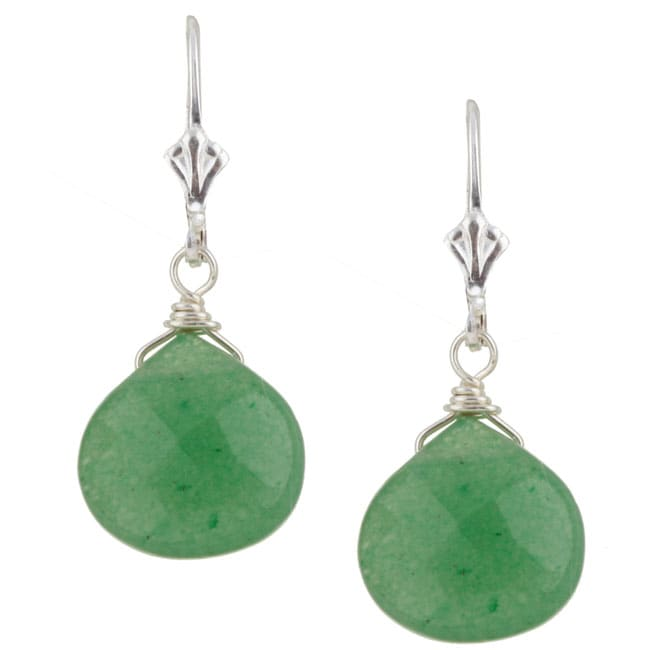 Charming Life Sterling Silver Green Aventurine Briolette Earrings