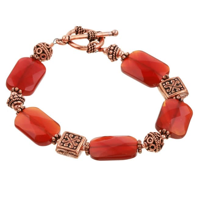 Charming Life Copper Bead and Carnelian Toggle Bracelet