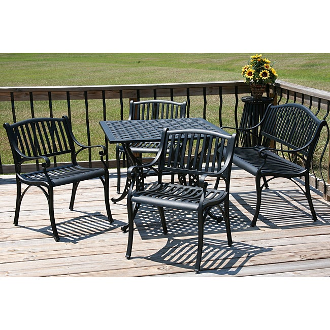 Black 5 piece patio dining furniture set 11387165 for Outdoor furniture overstock