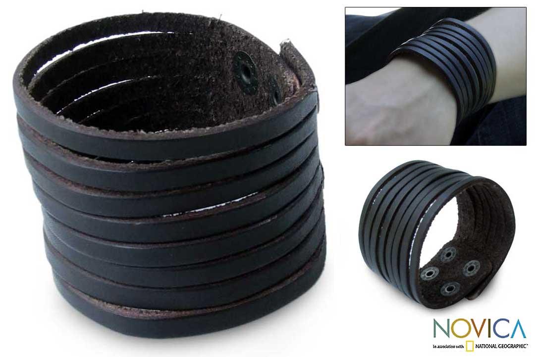 Genuine Leather 'Chocolate Spring' Bracelet (Thailand)