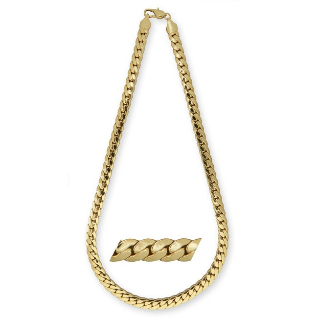 Simon Frank 14k Gold Overlay 30-inch Tight Cuban Link Necklace 10mm
