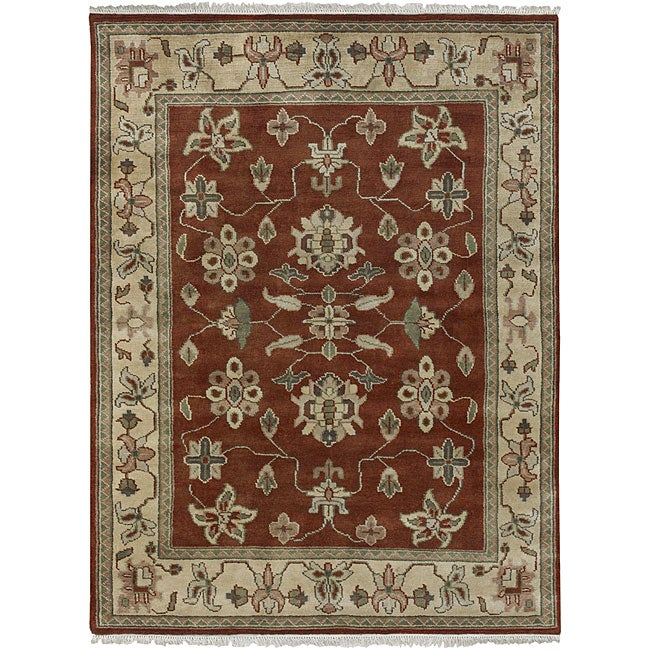 Hand-knotted Burgundy/Ivory Southwestern Park Ave Wool Rug (9' x 13')