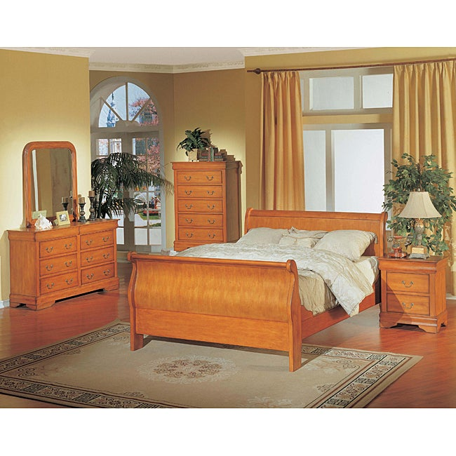 Louis Philippe Oak 5 Piece Queen Sleigh Bedroom Set 11394413 Shopping Big