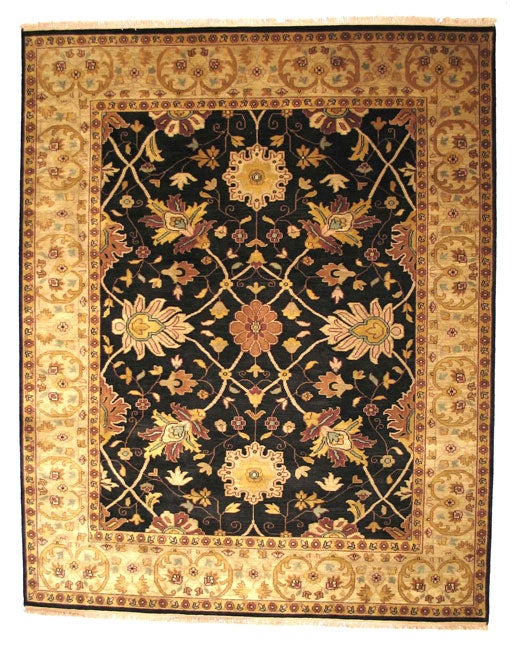 Hand-knotted Nargess Black Wool Rug (4' x 6')
