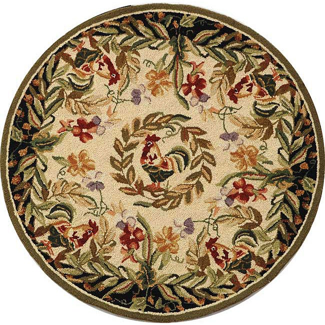 Safavieh Hand-hooked Rooster and Hen Cream/ Black Wool Rug (3' Round)