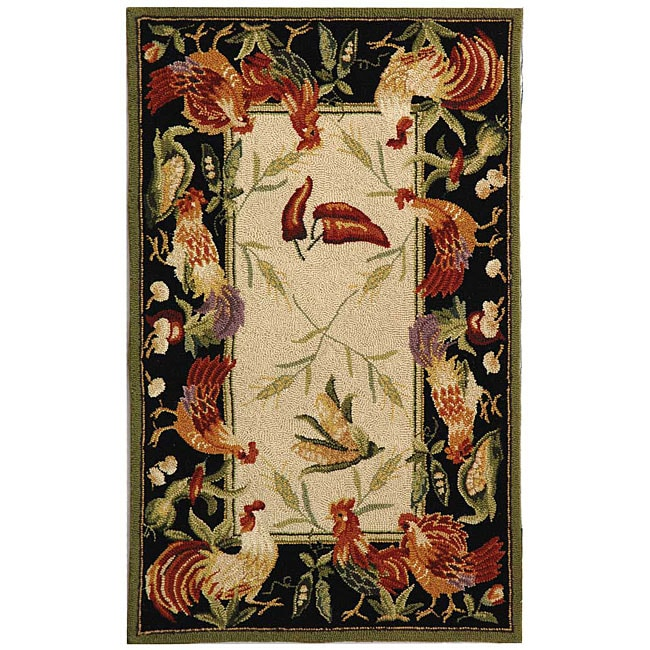 Safavieh Hand-hooked Rooster Garden Ivory/ Black Wool Rug (2'9 x 4'9)