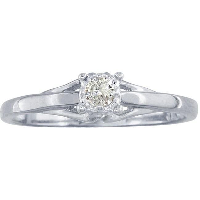 10k White Gold Diamond Promise Ring (K,I1)