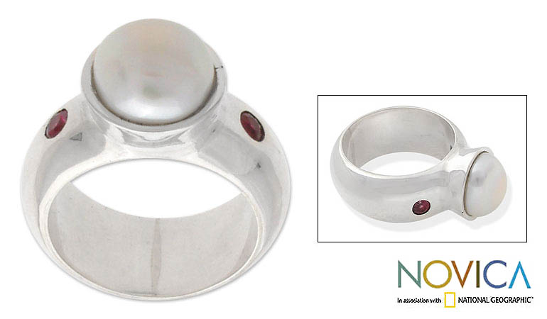 Sterling Silver 'Moon in Bloom' Pearl and African Ruby Ring (Indonesia)