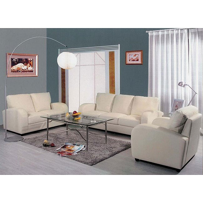 Contemporary leather 3 piece living room set overstock for Living room set deals