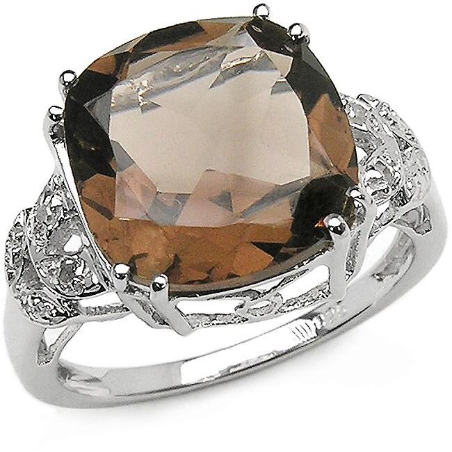 Malaika Sterling Silver Smokey Quartz and Diamond Ring