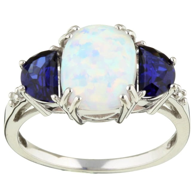 14k Gold Opal Sapphire And Diamond Ring 11410813