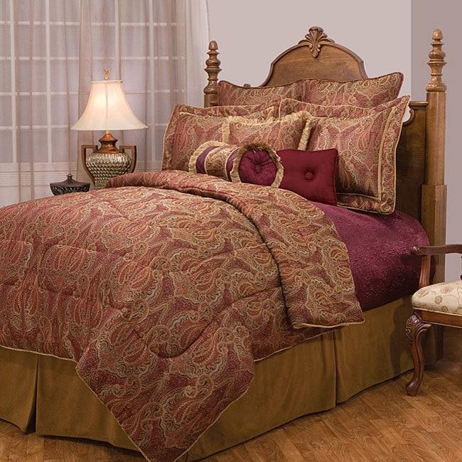 Royal Paisley Print Burgundy 10 Piece Bedding Set