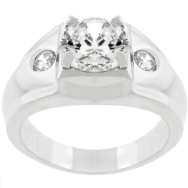Silvertone Men's Clear CZ 3-stone Ring