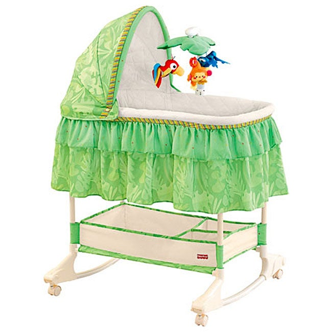 fisher price rainforest bassinet with mobile 11438010 overstock shopping big discounts