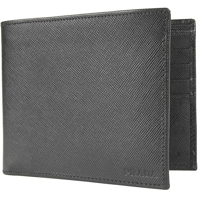 prada nylon shopping tote - Prada Saffiano Men's Black Leather Bi-fold Wallet - Overstock ...