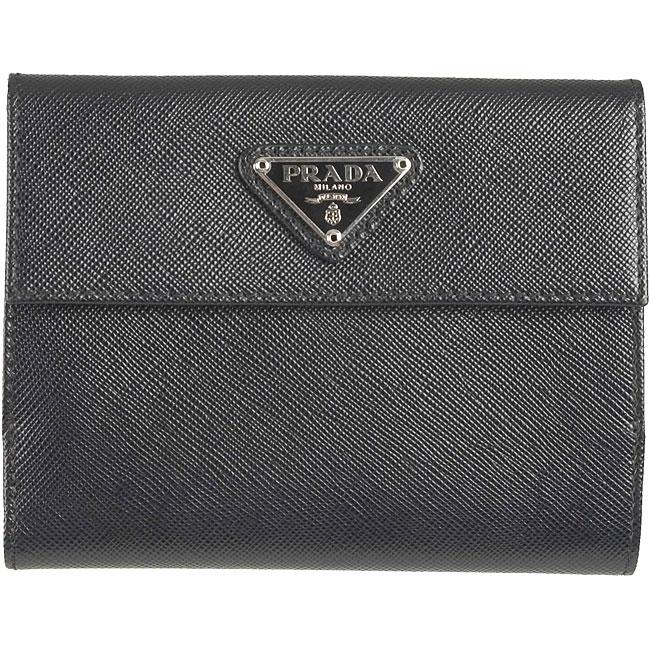 prada tote black - Prada Black Saffiano Oro Leather French Wallet - 11439130 ...