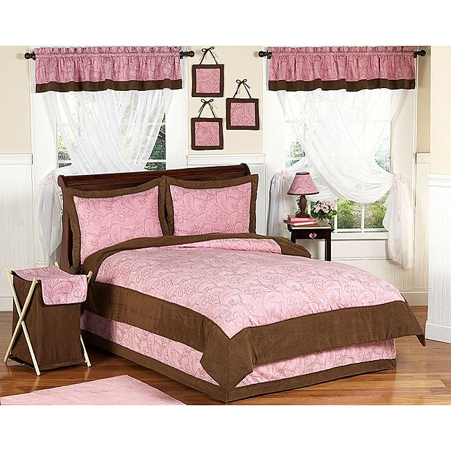Pink and brown paisley girl s bedding set 11446768 overstock com
