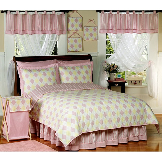 Yellow and pink argyle teen bedding set overstock - Pink and yellow comforter ...