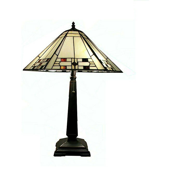 Tiffany-style White Mission Table Lamp